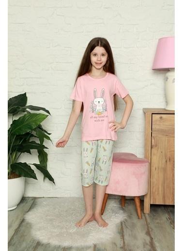 Pemilo Kız Çocuk 6649 Desenli Kısa Kol Kaprili Pijama Takımı TURUNCU Oranj